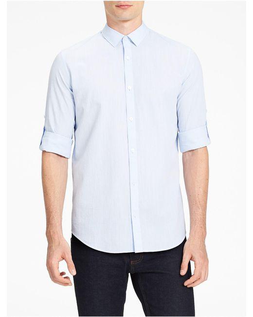 Calvin Klein | Blue Classic Fit Seersucker Chambray Shirt for Men | Lyst