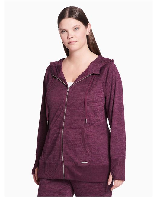 Calvin Klein Purple Plus Size Performance Heathered Zip Hoodie