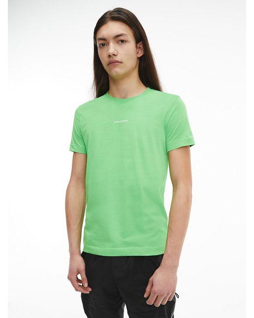 Calvin Klein Slim T-shirt Van Biologisch Katoen in het Green voor heren