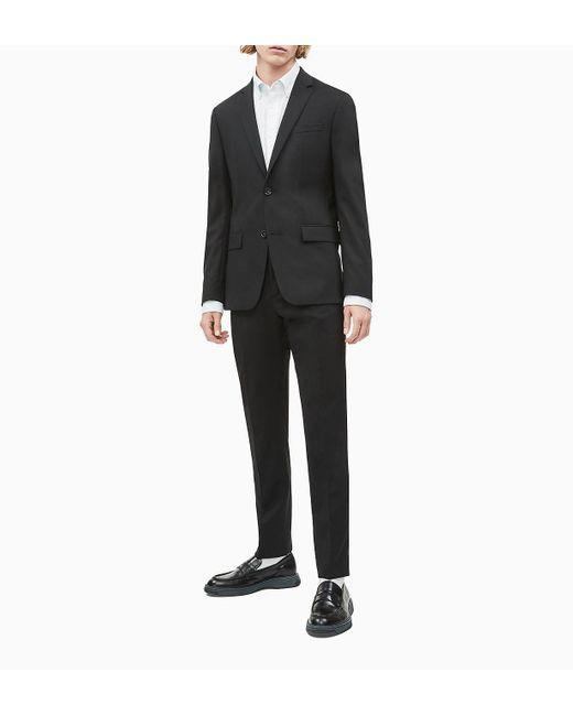 Blazer de lana el�stica ajustada con botonadura sencilla Calvin Klein de hombre de color Black