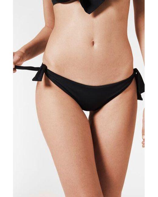 Calzedonia Black Side Tie Brazilian Swimsuit Bottom Indonesia