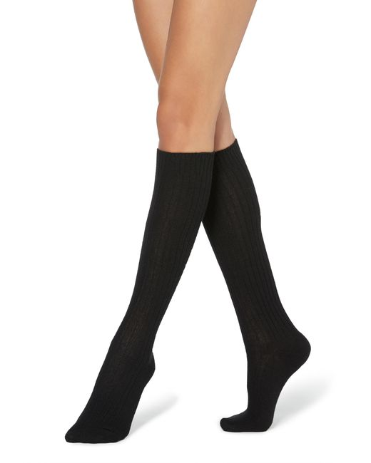 Calzedonia Black Long Ribbed Socks With Wool And Cashmere