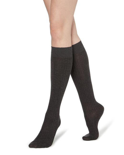 Calzedonia Gray Long Ribbed Socks With Cotton And Cashmere