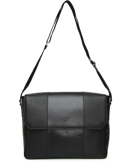 Canali - Black Tumbled Calfskin Leather Messenger Bag for Men - Lyst