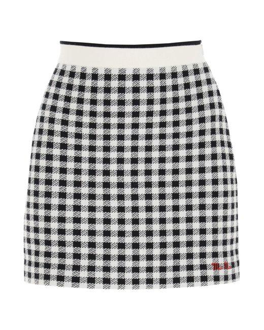 Miu Miu Black Vichy Wool F12 Mini Skirt 42 Wool