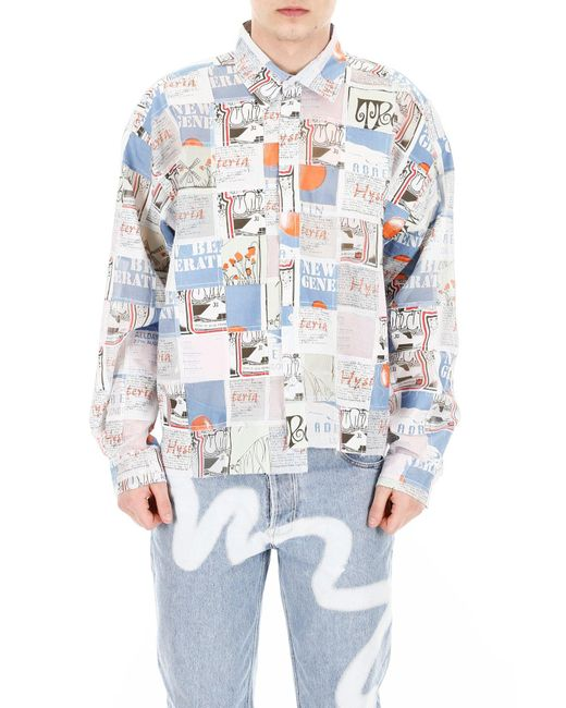 Martine Rose Blue Patchwork Asymmetric Shirt for men