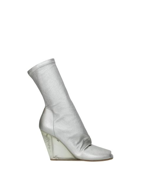 Rick Owens Metallic Ankle Boots Leather