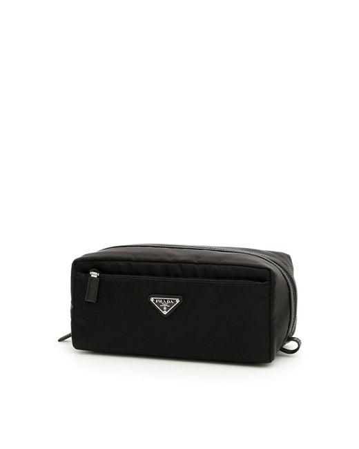 Prada Black Logo Wash Bag for men