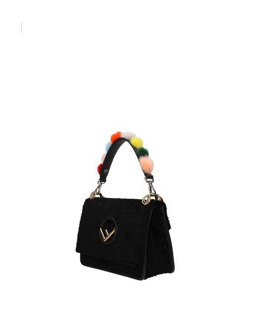 Fendi Black Shoulder Strap Handle Leather