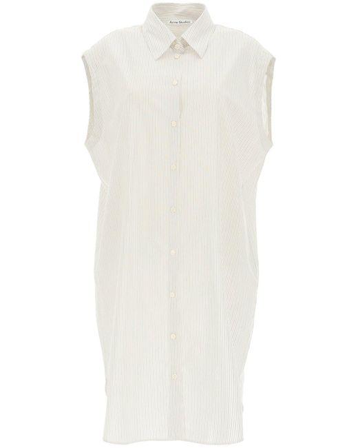 Acne White Mini Shirt Dress In Striped Cotton Blend