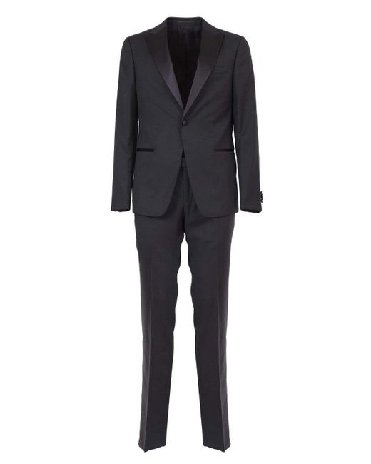 Z Zegna Black Premium Wool Tuxedo With Revers And Black Satin Trouser Trim for men