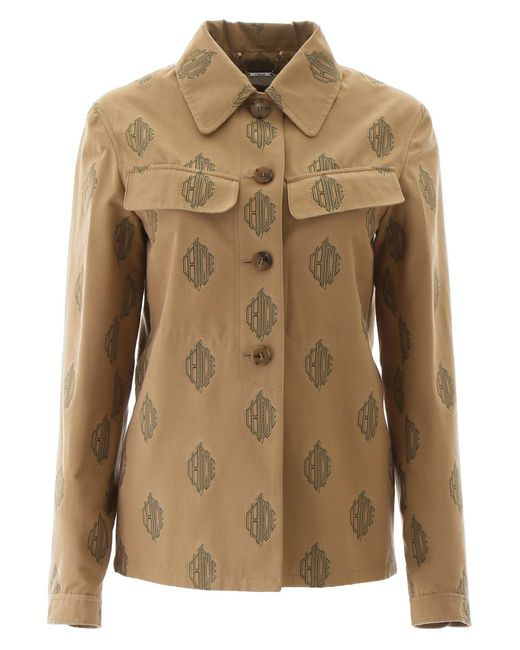 Chloé Natural Chloe' Jacket With Logo All-over