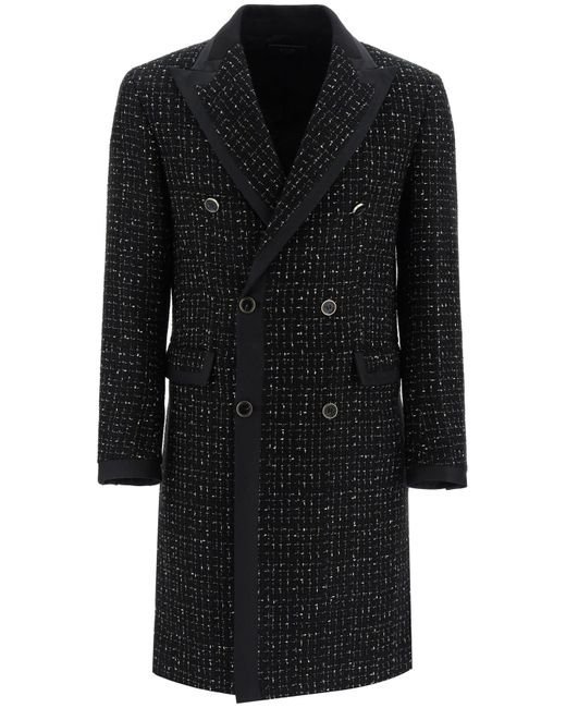 Amiri Black Double-breasted Boucle' Coat With Lame' 50 Wool for men
