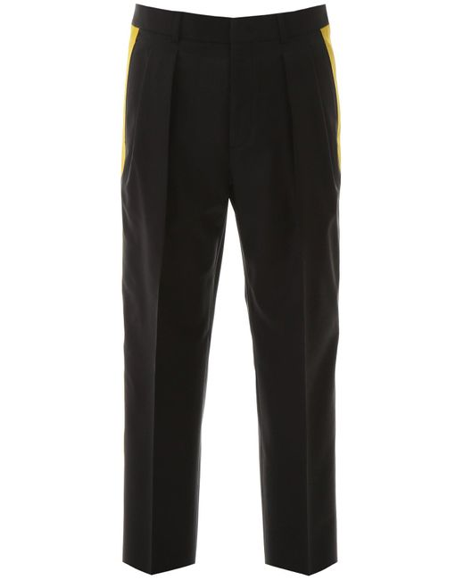 Valentino Black Trousers With Side Bands for men