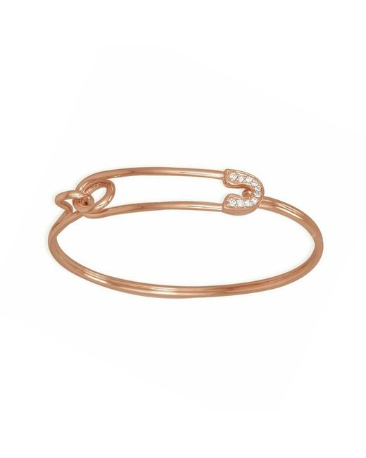 Sydney Evan Rose Gold Amp Diamond Safety Pin Bracelet In
