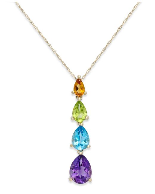 Macy's | Multicolor Multi-Stone Pendant Necklace In 10K Gold (2-3/8 Inches) | Lyst