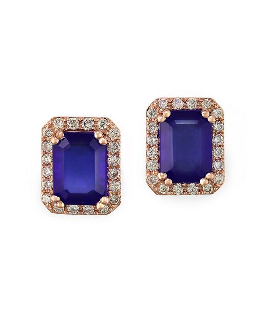 Effy | Blue Tanzanite, Diamond And 14k Rose Gold Stud Earrings | Lyst