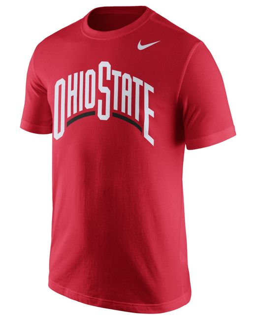 Nike men 39 s ohio state buckeyes wordmark t shirt in red for for Ohio state shirts mens