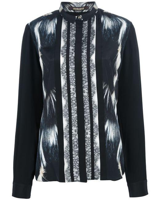 Roberto Cavalli | Black Fur Print Blouse | Lyst