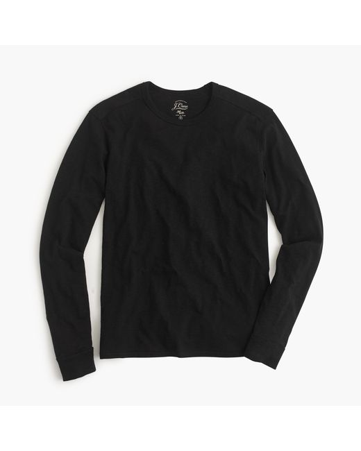 J.Crew | Black Long-sleeve Textured Cotton T-shirt for Men | Lyst
