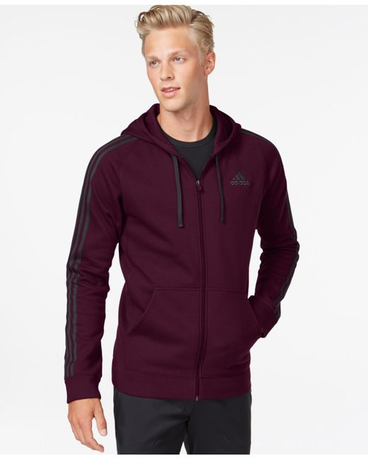 Adidas Originals | Red Men's Essentials Cotton Fleece Full-zip Hoodie for Men | Lyst