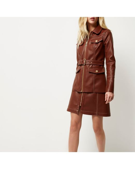 river island rust brown leather look skirt in brown rust