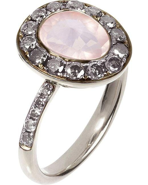 Annoushka | Pink Dusty Diamonds 18ct White-gold, Rose Quartz And Grey Diamond Ring | Lyst