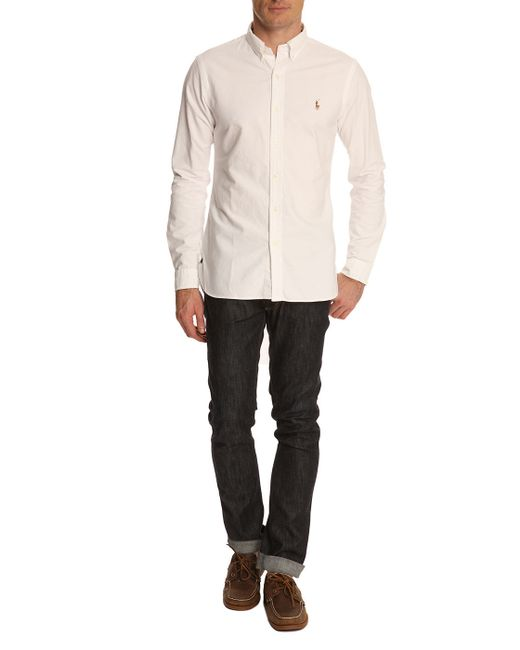 polo ralph lauren slim fit white oxford shirt in white for. Black Bedroom Furniture Sets. Home Design Ideas