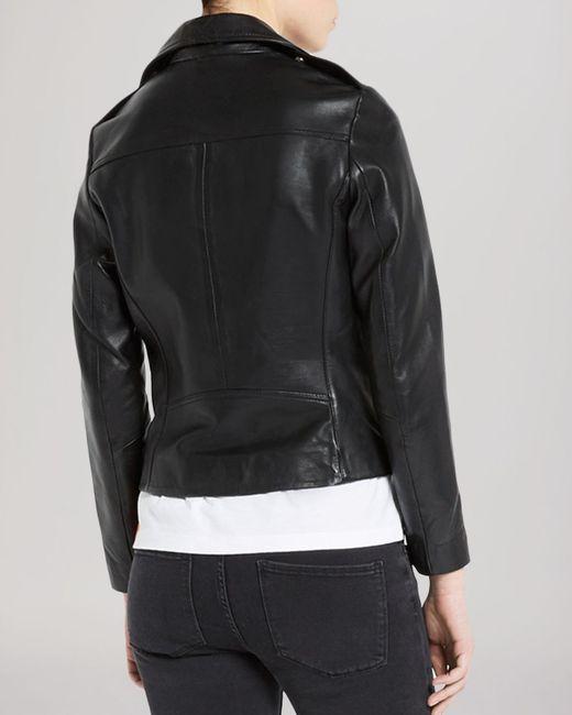 Sandro Jacket Veinarde Leather Biker In Black Lyst