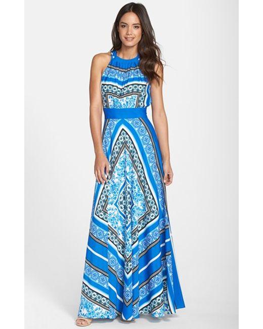 Eliza J   Blue Scarf Print Halter Crepe De Chine Maxi Dress   Lyst