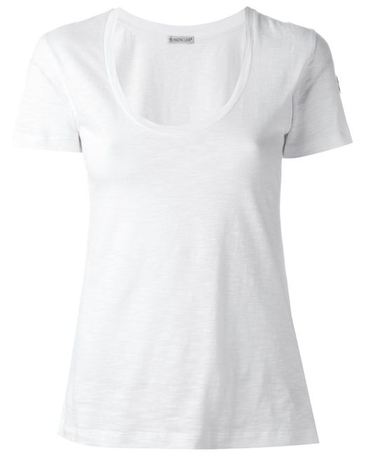 Moncler Scoop Neck T Shirt In White Lyst