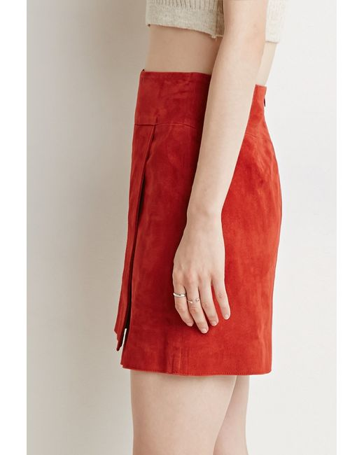 forever 21 contemporary genuine suede origami skirt in