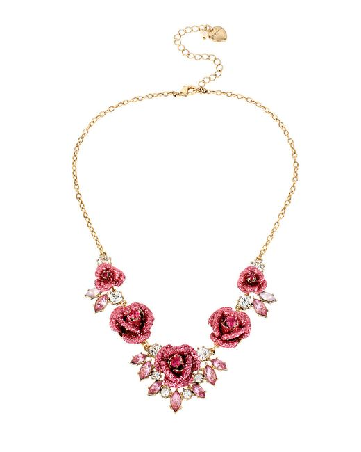 Betsey Johnson | Pink Glitter Rosette Statement Necklace | Lyst