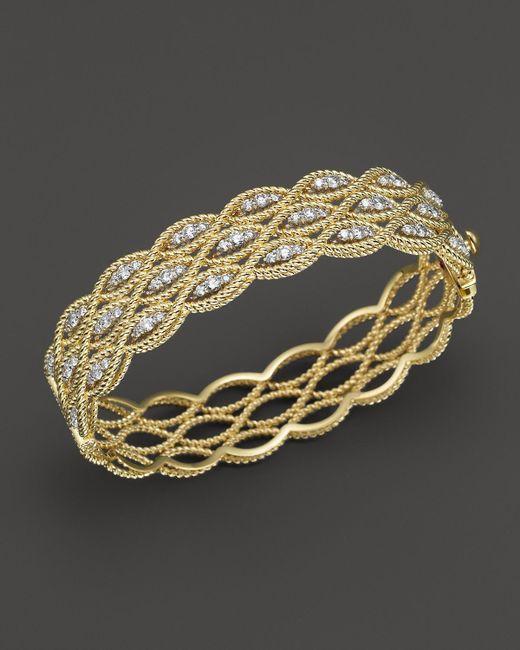 Roberto Coin | Metallic 18k Yellow And White Gold New Barocco Diamond Bangle | Lyst