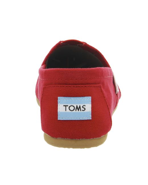 TOMS | Womens Classic Canvas Slipon Red | Lyst