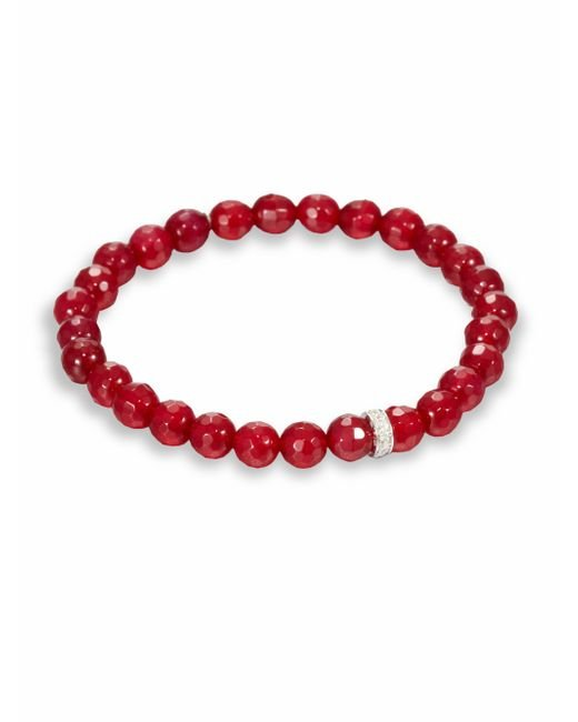 Sydney Evan | Red Agate, Diamond & 14k White Gold Rondelle Beaded Stretch Bracelet | Lyst