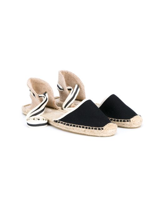 Soludos   Black Classic Ankle Tie Espadrille Flats   Lyst