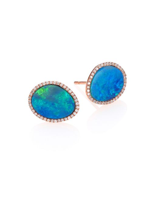 Meira T | Blue Opal, Diamond & 14k Rose Gold Stud Earrings | Lyst