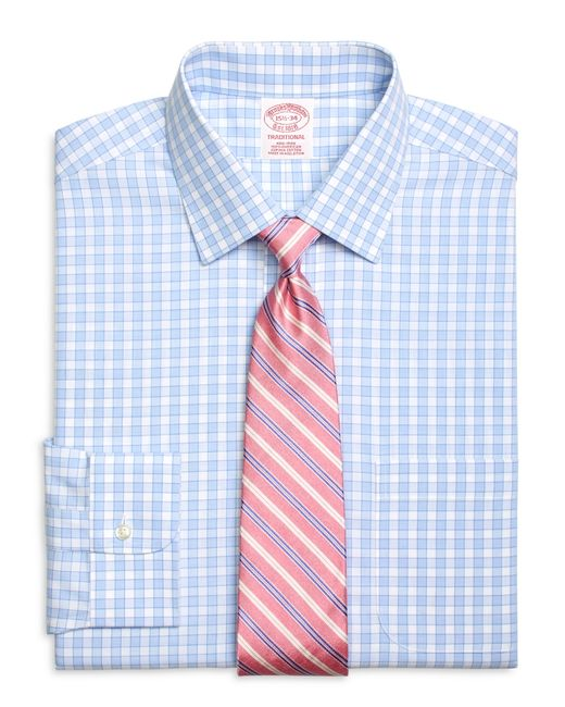 Brooks brothers non iron traditional fit framed gingham for Brooks brothers dress shirt fit guide