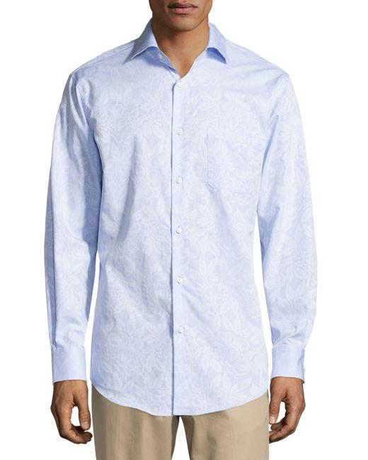 Neiman Marcus Jacquard No Iron Dress Shirt In Blue For Men
