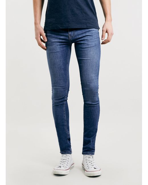 Topman Mid Wash Super Spray On Skinny Fit Jeans In Blue