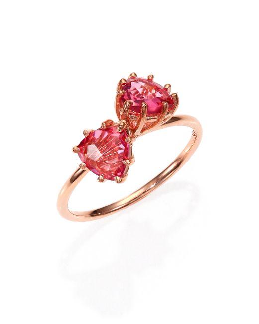 KALAN by Suzanne Kalan | Pink Topaz & 14k Rose Gold Double Trillion Ring | Lyst