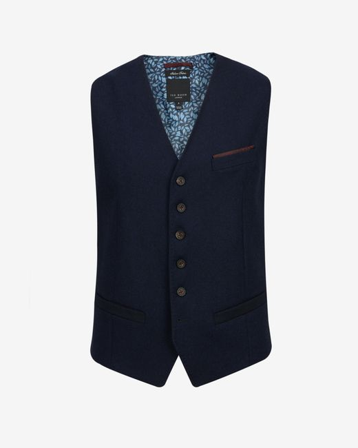 Ted Baker | Blue Wool And Cashmere-blend Waistcoat for Men | Lyst
