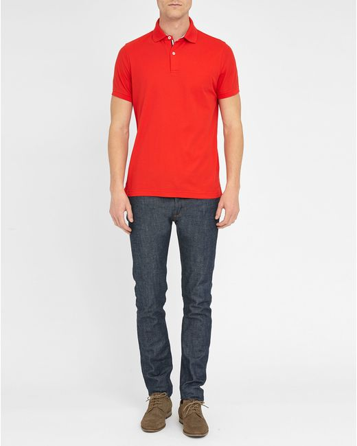 tommy hilfiger red striped button placket stretch slim fit polo shirt. Black Bedroom Furniture Sets. Home Design Ideas