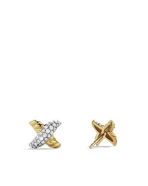 David Yurman   Metallic X Earrings With Diamonds In Gold   Lyst