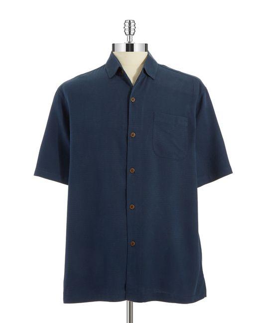 tommy bahama isla diamond silk sportshirt in blue for men