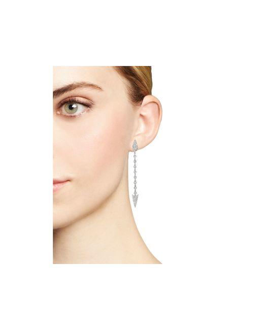 Meira T | Metallic 14k White Gold Diamond Arrow Drop Earrings | Lyst