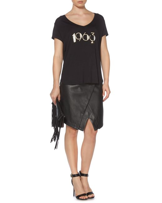 Biba | Black 1963 Slogan Relaxed V Neck Tee | Lyst