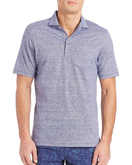 Luciano Barbera Cotton Linen Polo In Blue For Men Lyst