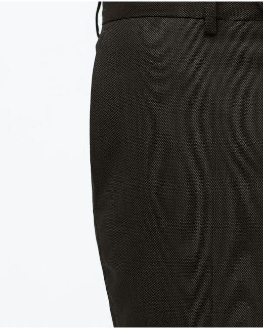 Zara   Black Birdseye Suit Trousers for Men   Lyst
